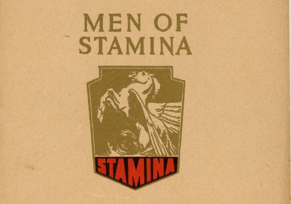 Book cover, men of stamina by Sir Walter scott.