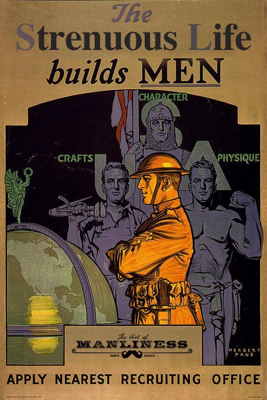 A poster of the strenuous life builds men.