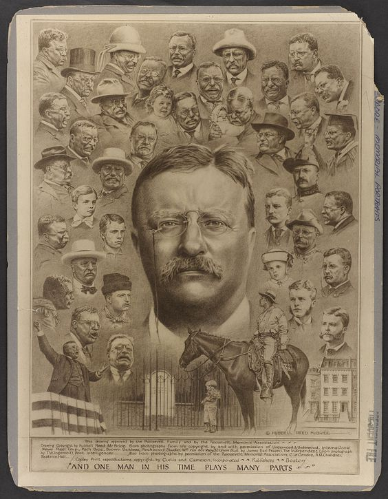 A print face of Theodore roosevelt in newspaper.