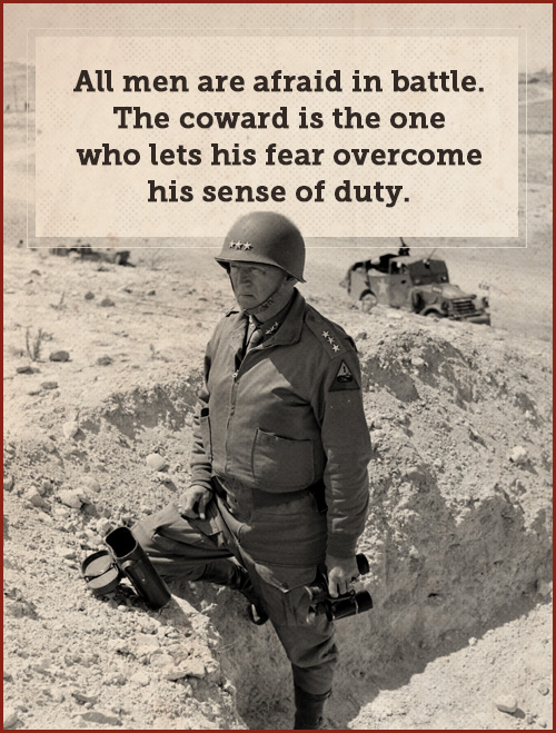Quote by george patton and standing in a battle field with soldires.