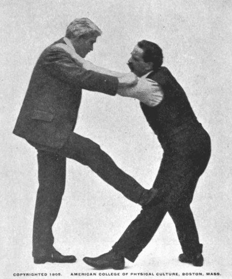 Raise your right leg, pressing it against your opponent left leg illustration.