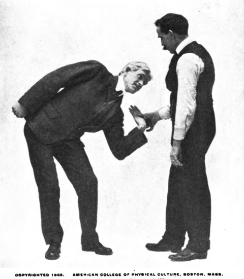 Pressing opponent's hand with your thumb and twist his hand.