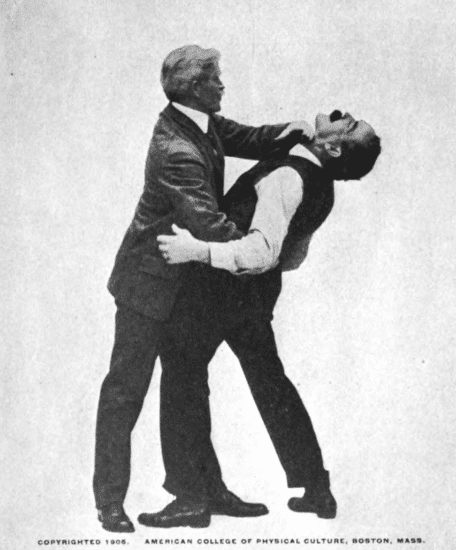Drawing opponent closely to you and pressing his neck illustration.