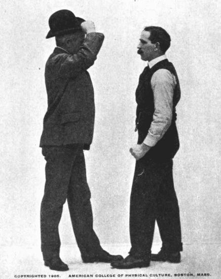 Two men are augmenting, one is raising his hat.