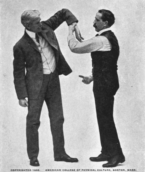 Holding your opponent's hand up and twist to the left illustration.