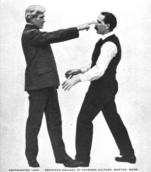 Man putting the first and index fingers to the eyes to other person illustration.