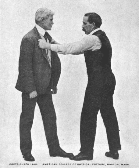Drawing opponent to you by the lapels of the coat illustration.