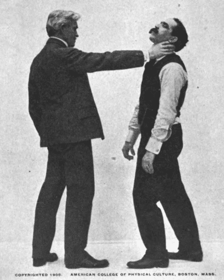 Grasping your opponent by the throat illustration.