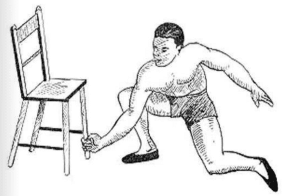 How to lifting up a chair by the right hand.