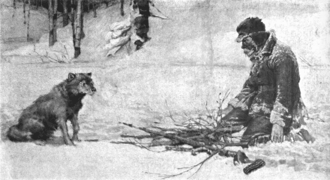 vintage illustration man building fire in snow wolf nearby