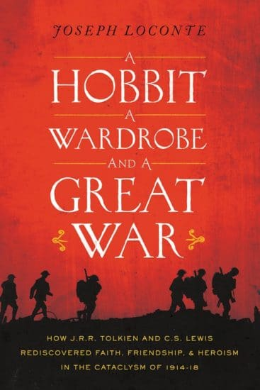 Book cover, a hobbit a wardrobe and a great war by Jrr Tolkien and Cs Lewis.
