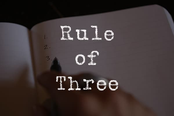 Book cover, rule of three by Chris bailey.