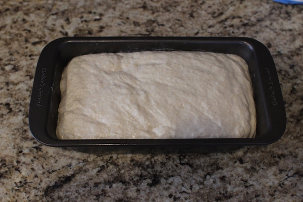 Dough in a loaf pan.