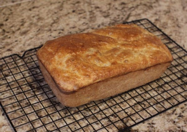 Sandwich loaf baked on wire grill.