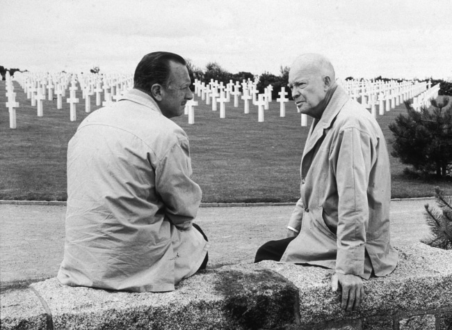 Walter cronkite with dwight eisenhower at arlington cemetery.