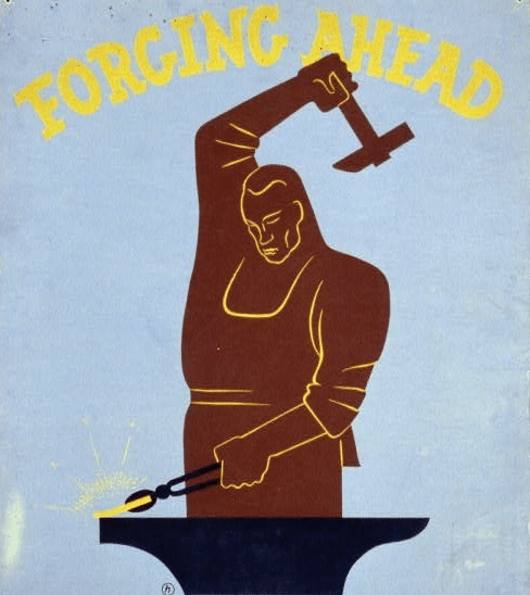 forging ahead vintage blacksmith poster illustration