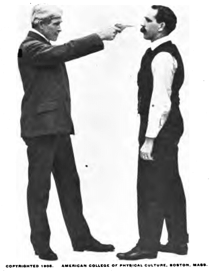 Person pointing a revolver on face illustration.