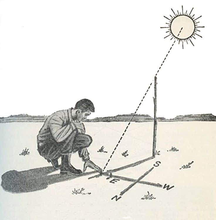 vintage illustration boy using sun to find direction