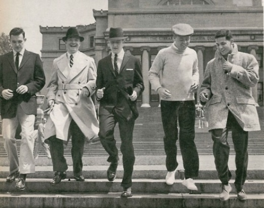 vintage group of friends walking together outside