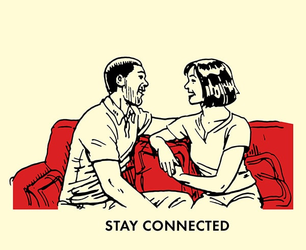 couple talking on couch staying connected illustration