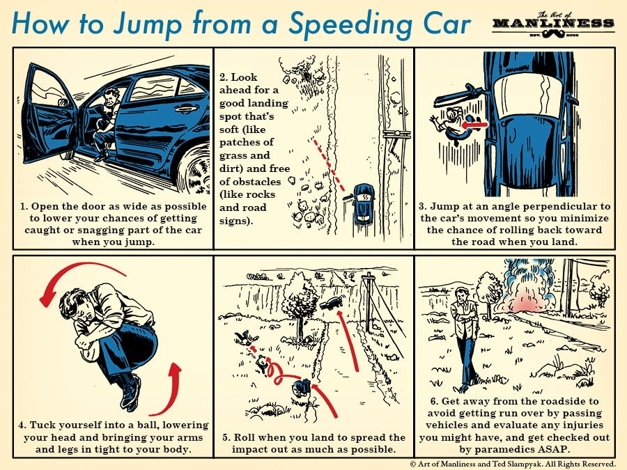 How to jump from a speeding car illustration.