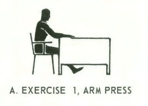 Office fitness chair stretch isometrics. Exercise# 1: arm press.