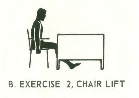 Office fitness chair stretch isometrics, Exercise# 2: chair lift.