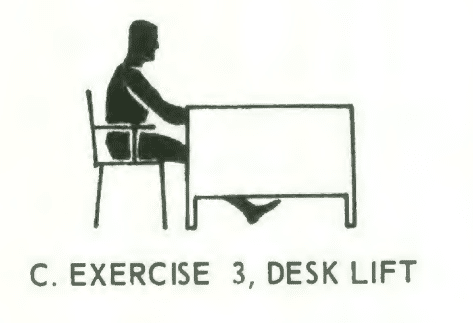 Office fitness chair stretch isometrics, Exercise# 3: deck lift.
