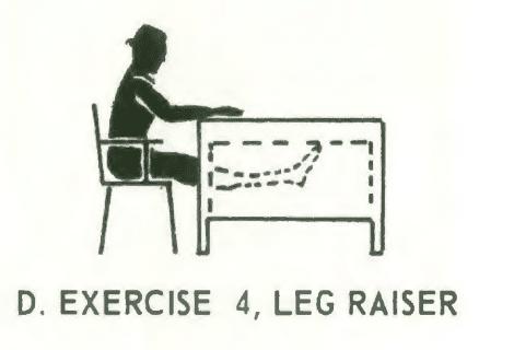 Office fitness chair stretch isometrics. Exercise# 4: leg raiser.
