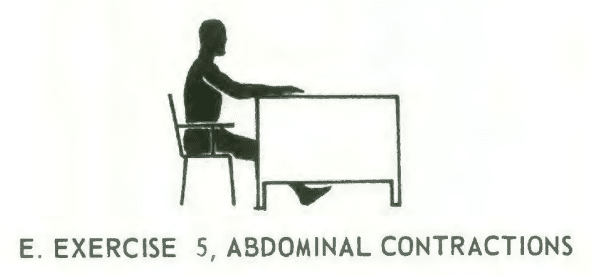 Office fitness chair stretch isometrics. Exercise# 5: abdominal contractions.