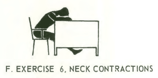 Office fitness chair stretch isometrics. Exercise# 6: neck contractions.