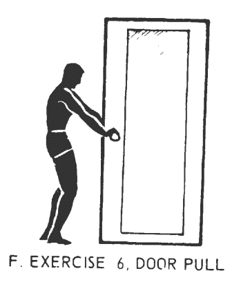 Office fitness doorframe stretch isometrics. Exercise# 6: door pull.