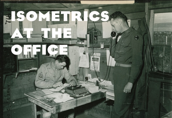 Vintage military man at desk isometrics at office.