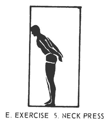 Office fitness doorframe stretch isometrics. Exercise# 5: neck press.