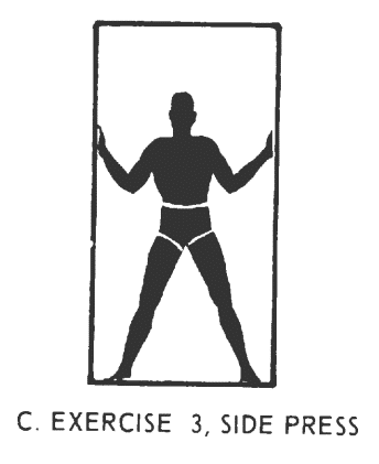 Office fitness doorframe stretch isometrics. Exercise# 3: side press.