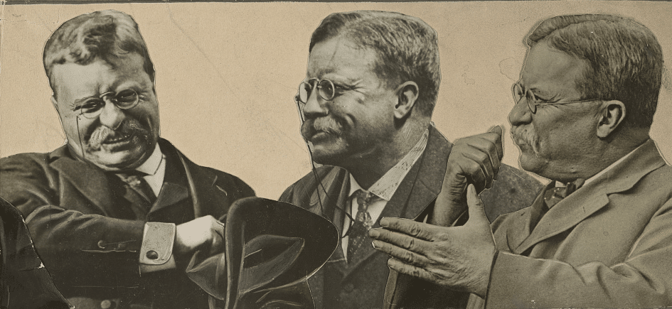 theodore roosevelt portraits collage intense face and gestures