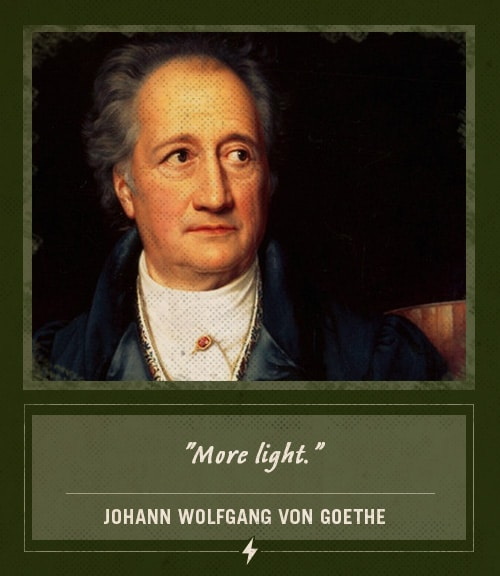 johann wolfgang von goethe last words more light