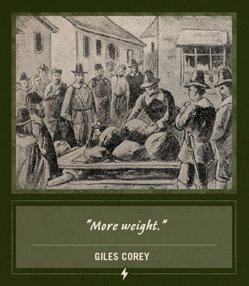 giles corey salem witch trials last words more weight