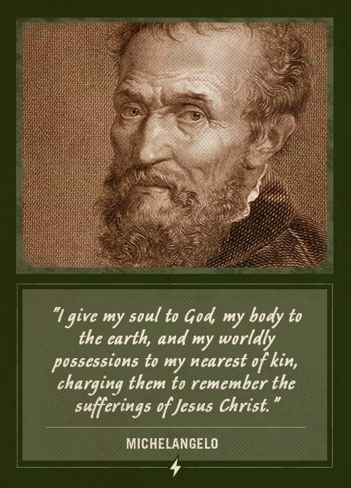 michelangelo last words i give my soul to God