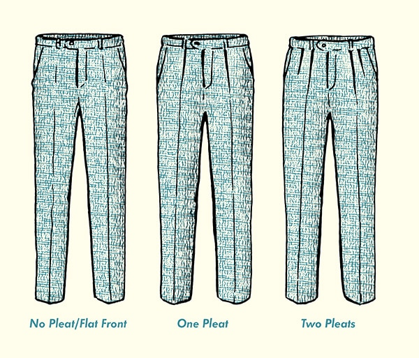 pleats and flat front pants diagram illustration