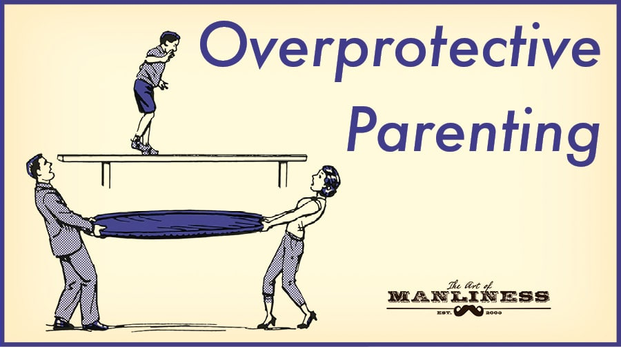 overprotective parents holding net under child illustration