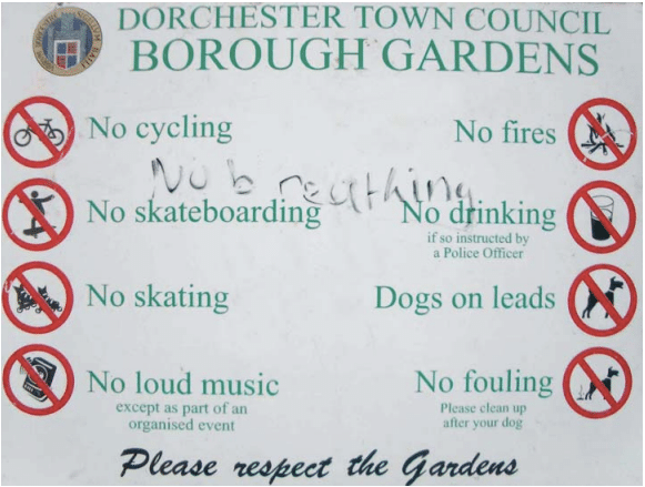 Cautions for towncouncil borough gardens.