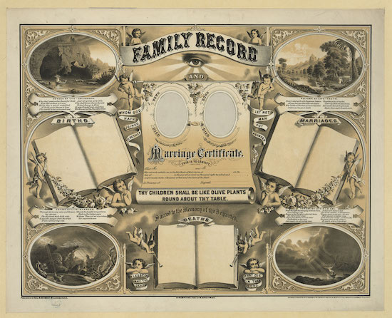 vintage ornate marriage certificate family record