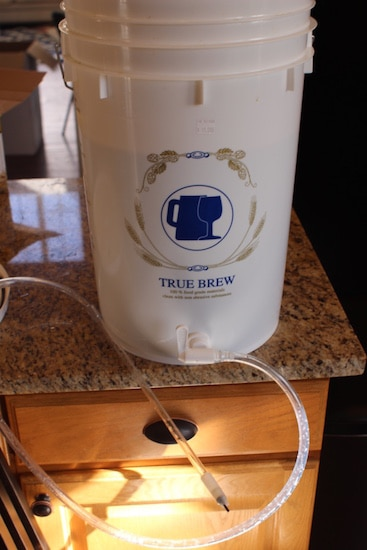 Homebrew bottle filler and siphon attached to bottling bucket.