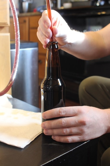 Homebrew filling bottle with beer siphon.