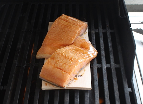 salmon on wood grilling plank