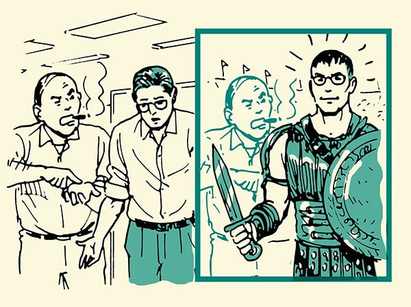 A boss is critisising his employee and employee is thinking of himself as a gladiator.