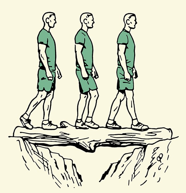 Man balancing on a log over a canyon illustration while crossing it.