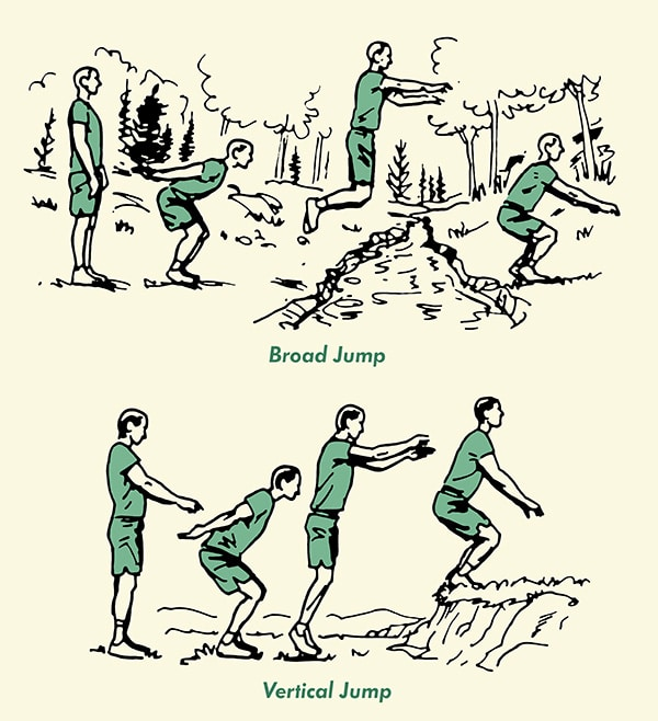Man doing broad jump over stream vertical jump illustration.