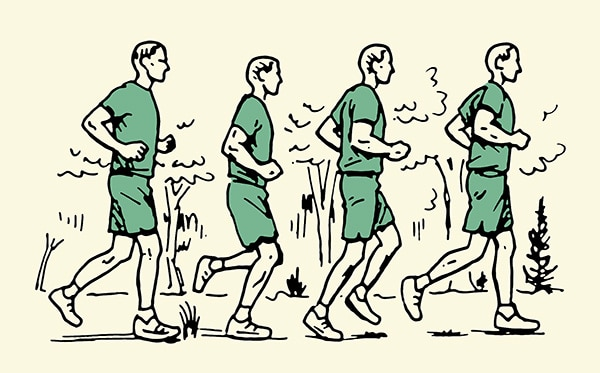 Man running outdoors illustration.